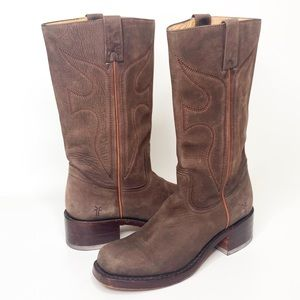 Frye Campus Leather Stitched Western Moto Boots